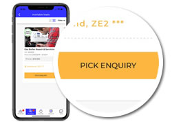 pick enquiry button on the quotatis smart app