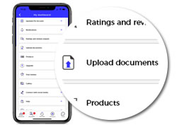 upload documents button on quotatis smart app