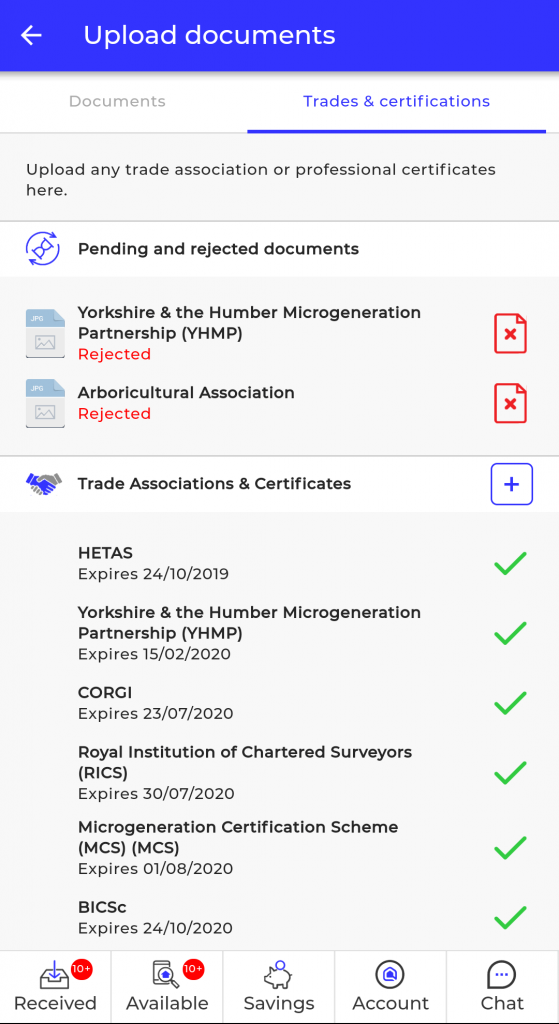 List of certifications on the Smart App for Green Homes Grant accreditation
